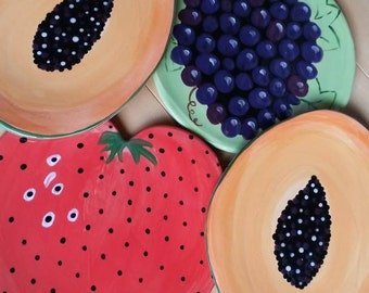 Fruit ceramic plates papaya, strawberry, grapes plate fruit plate vibrant colorful dishes bright colors pottery organic fruit dinner plates