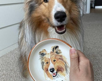"Pet portrait bowl Custom dog bowl small dog or cat ceramic bowl animal lover gift animal dish personalized pets 5"" bowl cat portrait"