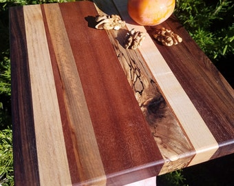 """9x8"""" Wood cutting board walnut burl, tiger maple, mahogany, spaulted maple hard wood stripe excellent joinery handcrafted wood display board"""