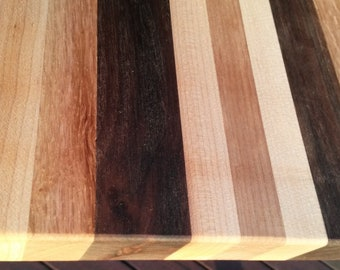 """Spectacular cutting board 14-1/2"""" walnut cherry oak sturdy straight construction extremely hard wood chopping block kitchen necessity gift"""
