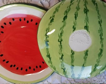 Watermelon dinner dessert salad plate ceramic pottery carefully hand painted microwave safe glazes fruit lover colorful fun creative kitchen
