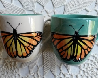 Bug mugs Large ceramic mug holds 2-1/2 cups monarch butterfly honey bumble bee coffee cup ladybug red black spots insect entomology mug gift