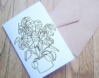 Monstera Stationery Set Plant Stationary House Plant Illustration Letter Writting Paper Gift Set