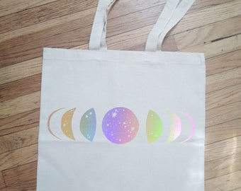 Iridescent Cosmic Moon Phases Tote Bag Shopping Books Purse Celestial Crescent Moon Stars Space Galaxy Rainbow Metallic Silver Gift