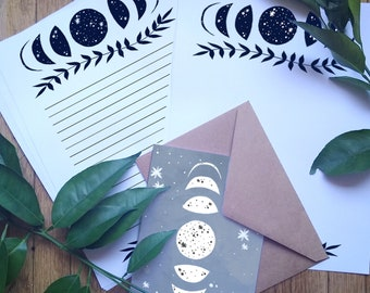 Moon Phases Stationery Set Stationary Paper Cosmic Galaxy Starry Space Cards Envelopes Gift