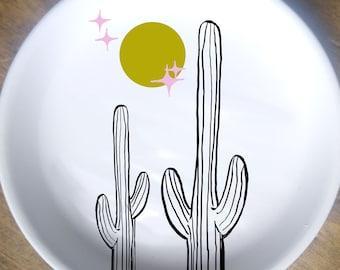 Celestial Cactus Trinket Dish Desert Retro Moon Stars Cacti Summer Home Decor Joshua Tree Saguaro Pink Harvest Gold