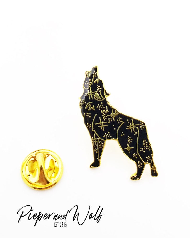 Cosmic Wolf Enamel Pin Space Pin Galaxy Celestial Starry Night image 0