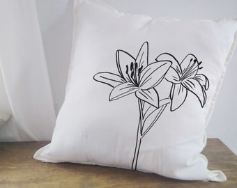 Lily Wild Flower Pillow Throw Cushion  Cottagecore Cover Floral Home Decor Bed Sofa Chair