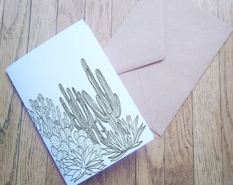 Cactus Cacti Desert Blank Card Set Staionery Stationary Botanical Succulent Gift Saguaro Prickly Pear Joshua Tree