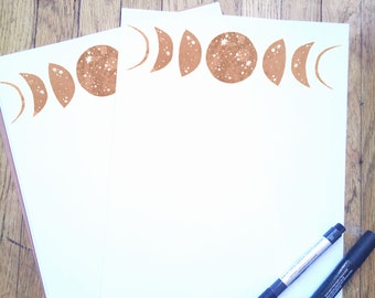 Pink Moon Phases Stationary Stationery Paper Set Cosmic Galaxy Starry Space Cards Envelopes Gift Crescent Moon Celestial