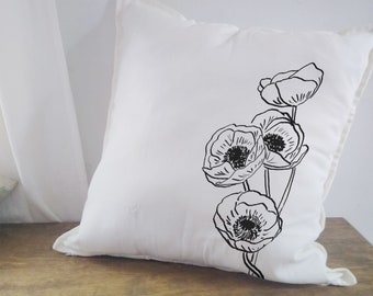 Poppy Wild Flower Pillow Cottagecore Throw Cushion Cover Floral Home Decor Bed Sofa Chair