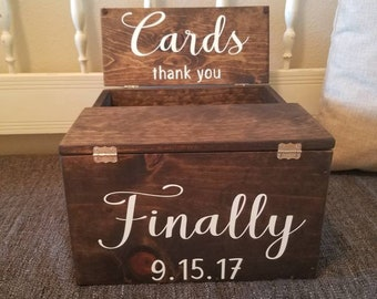 Custom Rustic Reclaimed Wood Wedding Card Box with FREE personalization 8x10x12inches