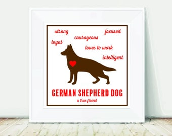 German Shepherd, German Shepherd Dog, Dog Print, German Shepherd Print, GSD, GSD Print, Dog Art, Digital Download, Square Print