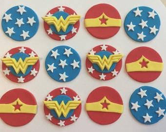 Wonder Woman Cupcake / Cookie Toppers Set of 12