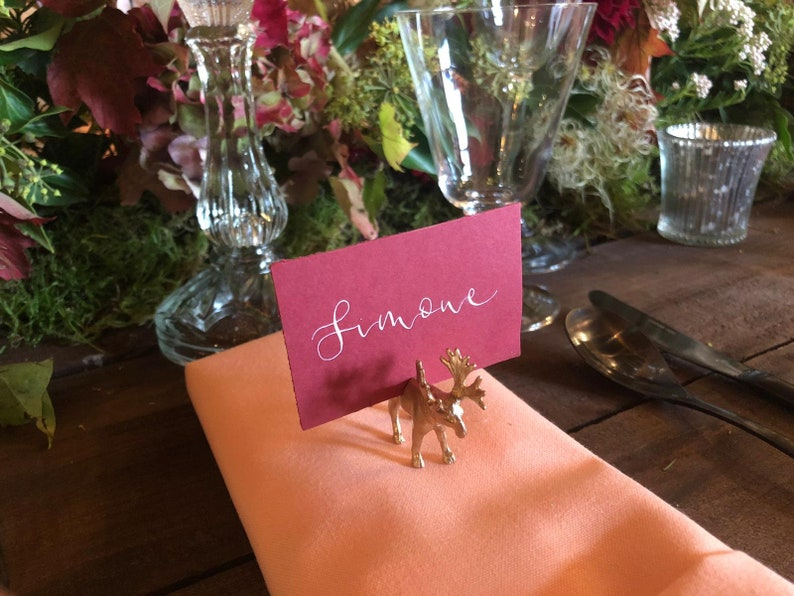 Sprayed Animal Wedding Place Name Holders in Gold Silver or image 0