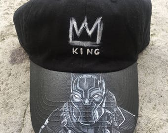 Black Panther Hand Painted Dad Hat f8c296a2f04