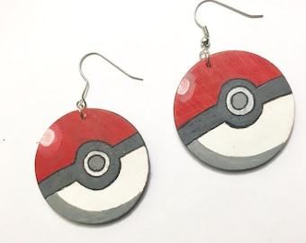 Hand Painted Pokeball earrings