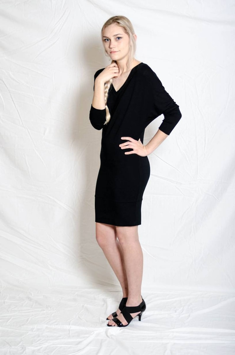 Dolman sleeve Soft rayon Jersey Dress Darla V-neck. Lbd