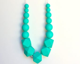 Silicone Teething Necklace, Nursing Necklace, Chew Jewelry, Bite Beads, Turquoise