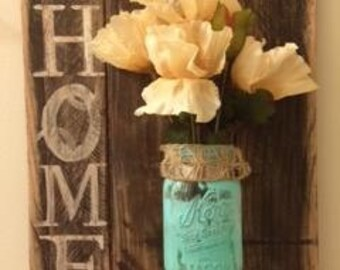 Reclaimed Wood and Mason Art- Home