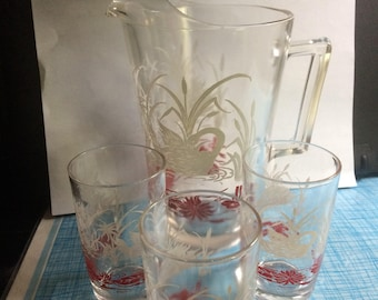Swan pitcher and glasses