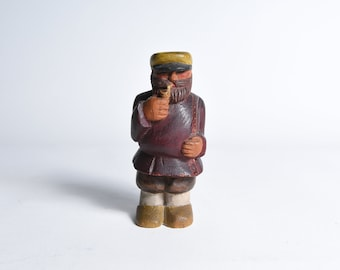 Carved Wooden Ship Captain Figure Smoking Pipe, 1930s Era, Signed E.B.R.