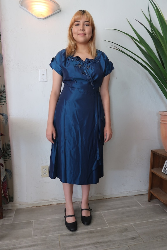 1940s Taffeta party dress large sz