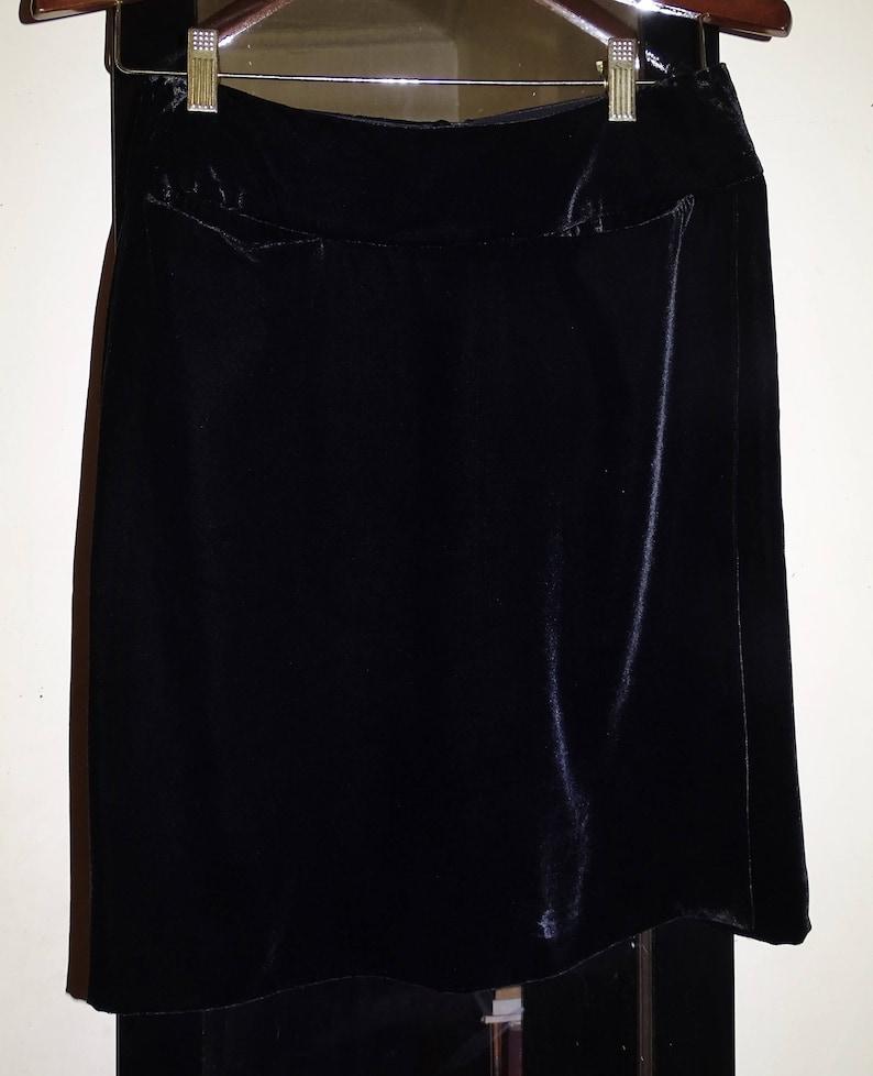 3711099f7b Emporio Armani 90's Made in Italy Black Velvet Velour Italian Designer  Short Mini Skirt Sleek Sexy Petite Cupro Rayon S