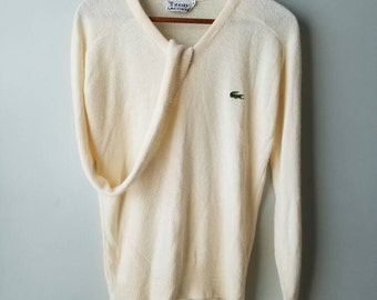 SALE Vintage 80s / Lacoste / sweater / cream / preppy / classic / alligator