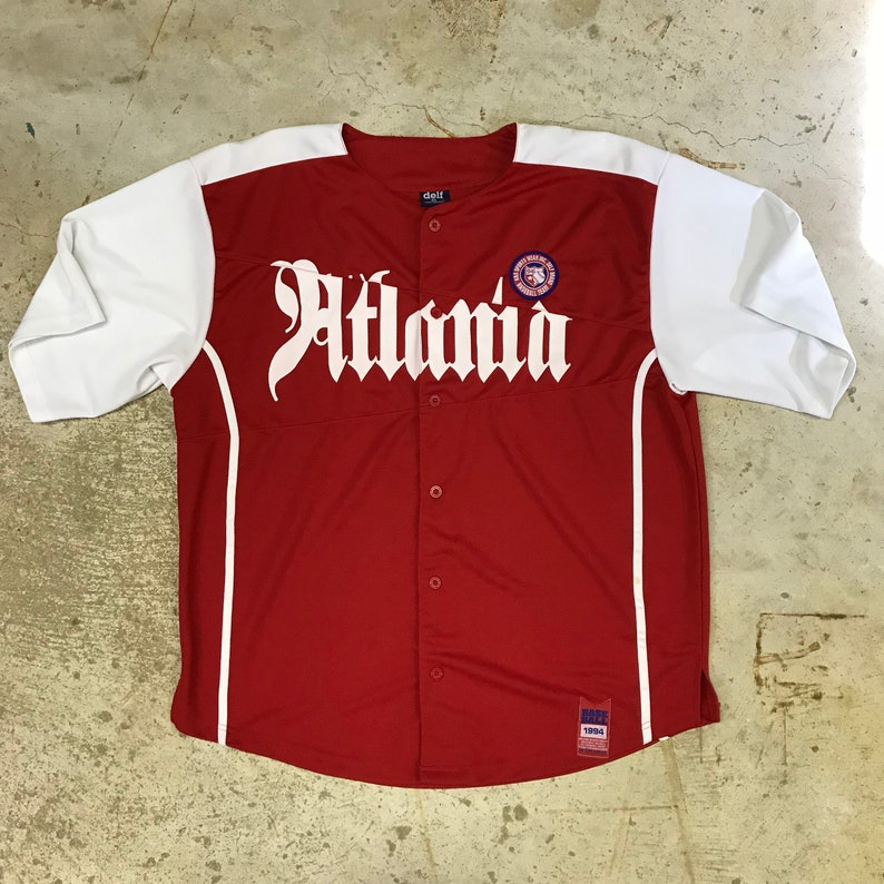 huge selection of 73c30 8932c Vintage DELF Atlanta Baseball Jersey Size X-Large XL 1994 White Red Old  English Lettering New Old Stock