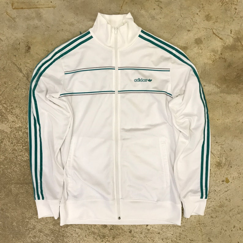 5bb067d1474c Vintage ADIDAS 3 Stripe Track Jacket Size Medium M White Teal