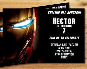 Iron man invitation Etsy