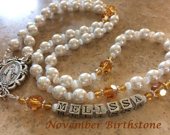 White Pearl Birthstone Rosary, First Communion Rosary, Topaz Rosary, Confirmation Rosary, Baptism Rosary, Catholic Rosary