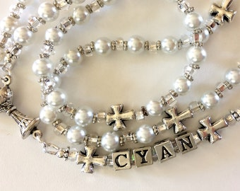 White Pearl Rosary, Baby Baptism Rosary, First Communion Rosary, White Bead Rosary, Catholic Rosary, Personalized Rosary, Baby Girl Rosary