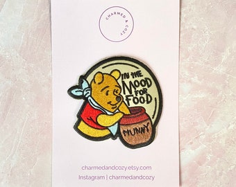 In the mood for food Winnie the Pooh cute embroidered patch iron on design