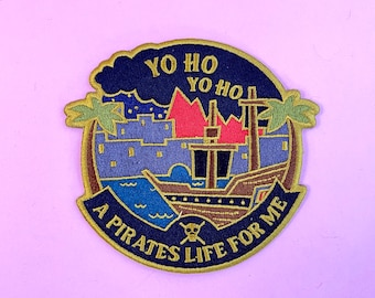 Pirates of the Caribbean yo ho ride disney attraction inspired quote cute embroidered large patch iron on design