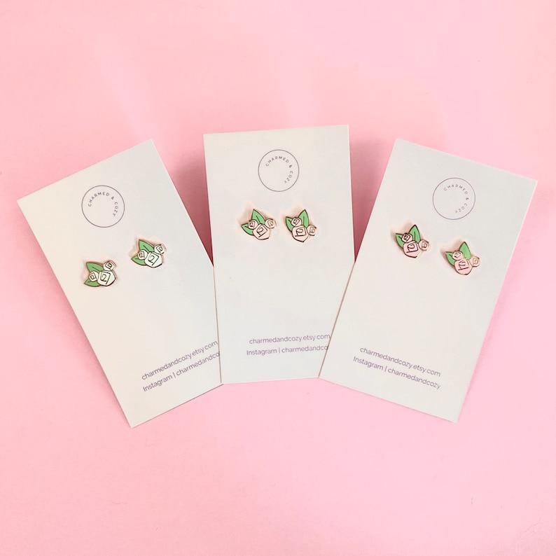 Disney earrings hidden mickey floral rose gold and white pink flowers hard enamel