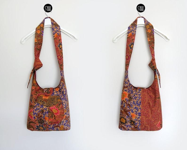 Messenger Cross Body Cloth Fabric Shoulder Bag Sling Hobo Slouch Long Adjustable Strap Lightweight Asia Batik Boho Hippie Ethnic Native
