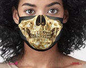 Gold Skull Face Mask, Sugar Skull Protective Masks, Washable Face Covers with filter pocket, 77