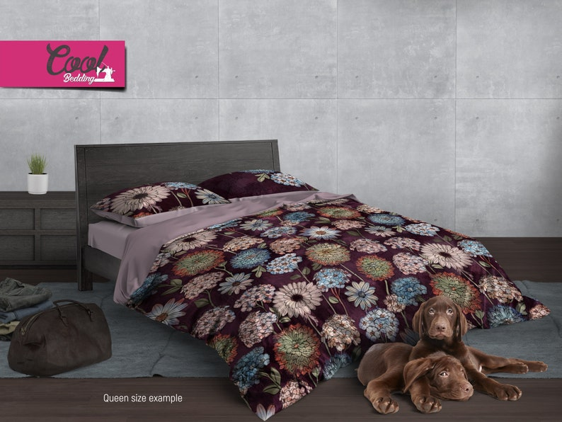 Bohemian Bedding Hugging and Decorative Pillow Covers #188 Floral Pattern Bed Linen Watercolor Flowers Bed Sheets