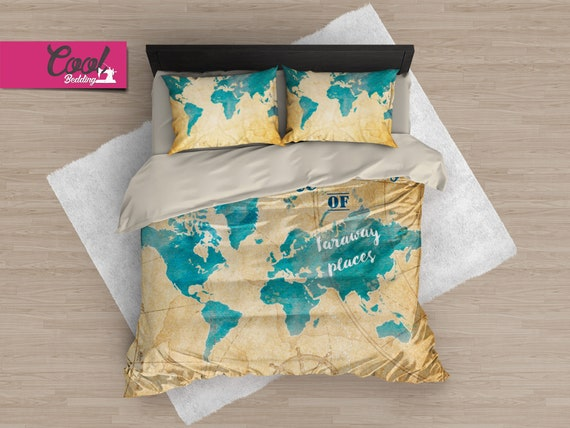 World Map Bedding Set, Travel Map Duvet Cover, Far Away Map Bedding,  Vintage Map Comforter Set, Watercolor Bed Sheets 183