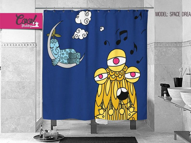 Space Blue Shower Curtain Anti Mold Bath Curtains Kids