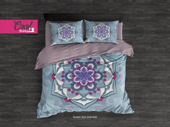Light Blue Mandala Duvet Cover, Boho Style Bedding Set, Linen Duvet cover, Full, Queen, King Pillow Cases, 3D mandala art 01