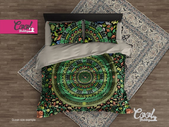 Mandala Bedding, Green Mandala Duvet Cover Set, Zen Garden Bedding Set, Boho Duvet Cover Queen, Bohemian Hippie Bedding 118