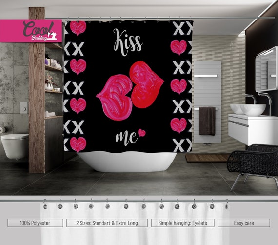 Lesbian Shower Curtain Bath Sowers Girls Kisses Homosexual