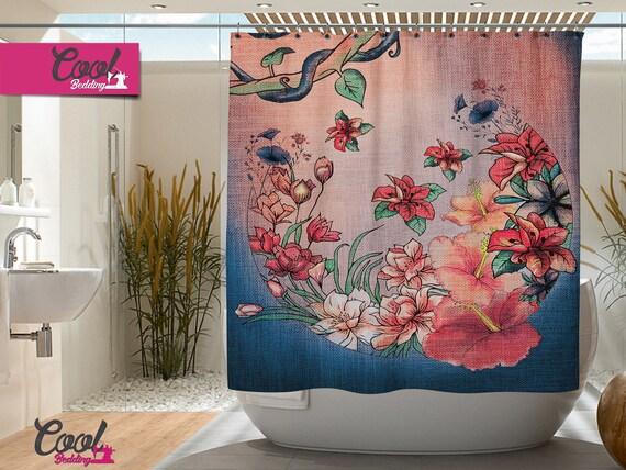 Boho bloemen douchegordijn boho badkamer gordijnen badkamer etsy