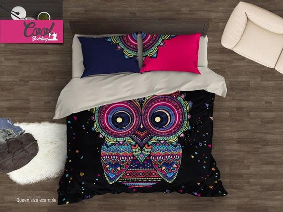 Cute Owl Bedding Set Bohemian Duvet Cover Set Boho Owl Etsy