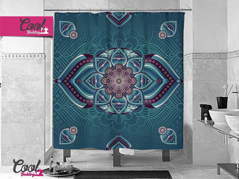 Bohemian Mandala Shower Curtain Boho Chic Bathroom Decor Blue Bath Curtain 16