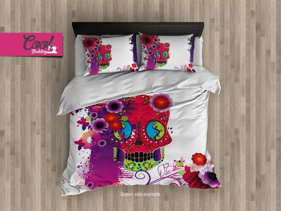 Sugar Skull White Duvet Cover Set Sugar Skull Bedding