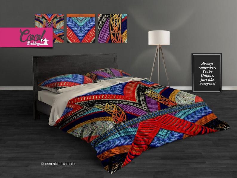 Bohemian Bedding Set, Boho Bedding, Ethno Beddings, Knitthes Bed Set, Hand drawn Bedding, Bedroom decor 47